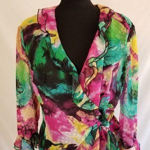 DRESSBARN  Wrap Blouse Floral Print Size 16 NWT